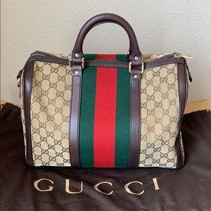 Gucci Canvas Boston Bag/Purse with crossbody strap